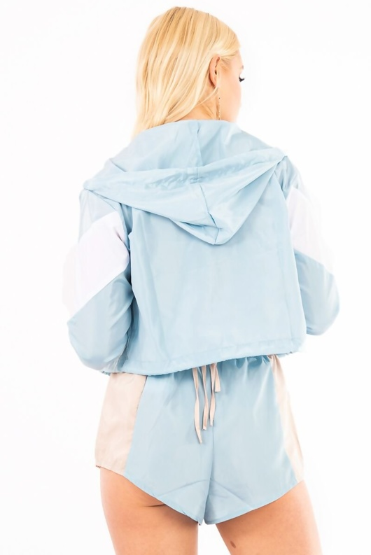 Baby Blue Colourblock Hooded Jacket And Shorts Set