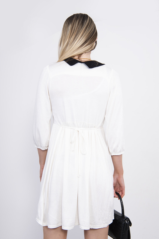 White Peter Pan Collar Detail Skater Dress