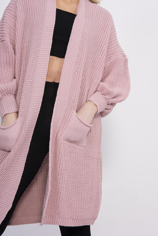 Pink Balloon Sleeve Pocket Knitted Cardigan