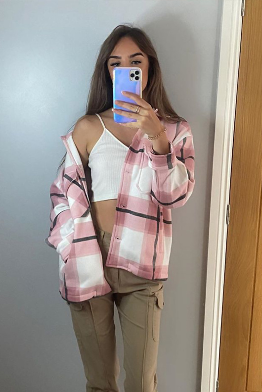 Pink Checked Boxy Jacket