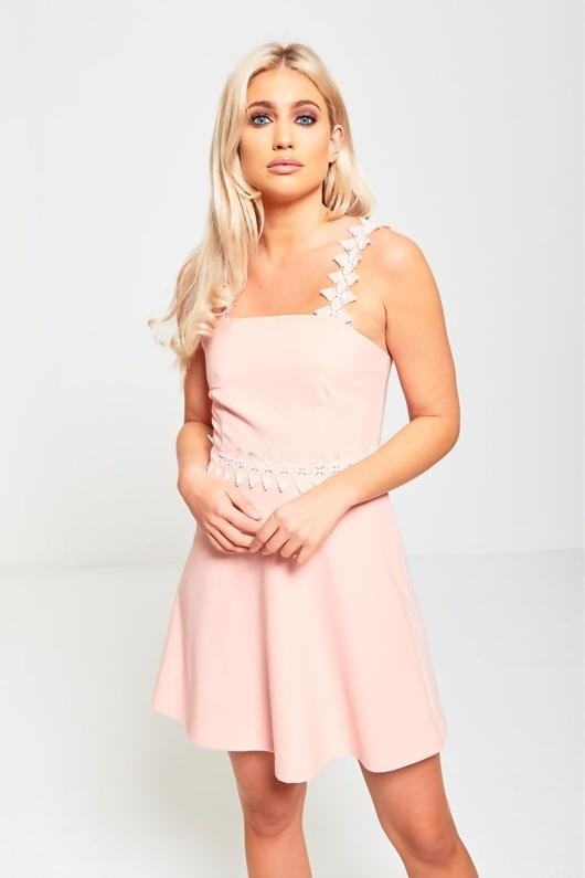 Pink Crochet Strap Skater Dress
