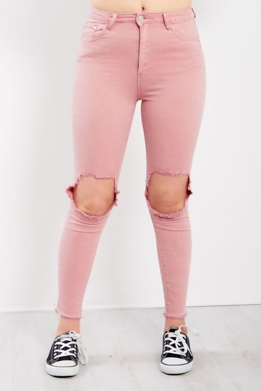 Pink Extreme Knees Ripped Skinny Jeans