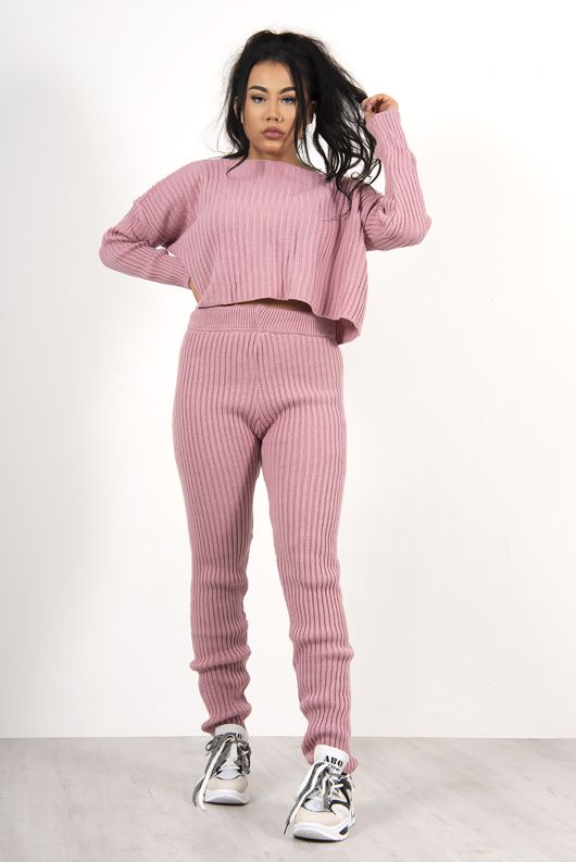 Pink Knitted Crop Co-Ord