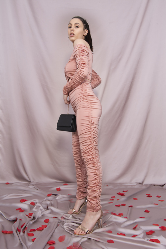 Pink Slinky Ruched Legging And Crop Top Set