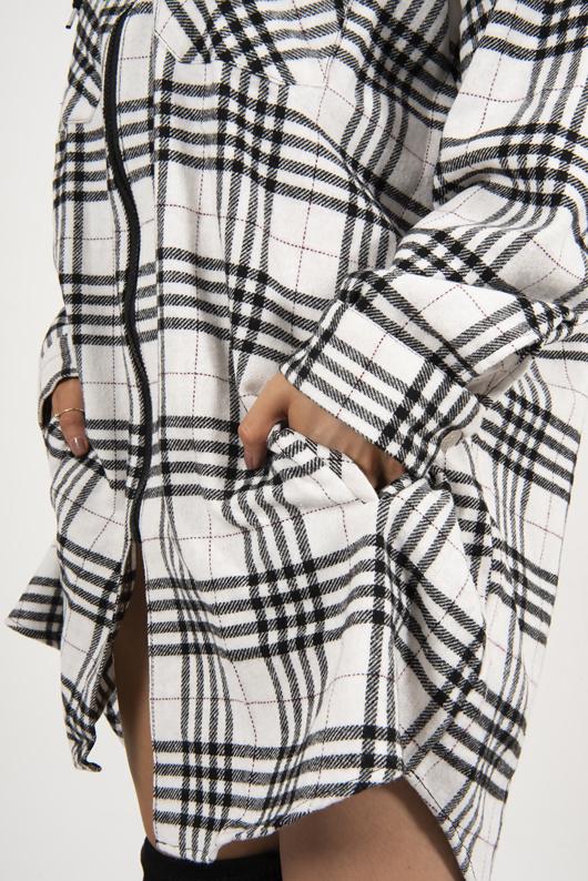 Black Check Hooded Zip Shacket