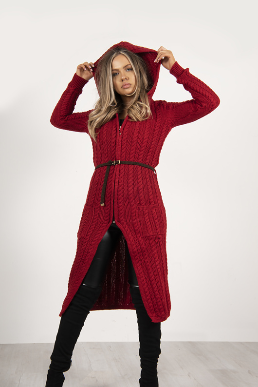 Red Cable Knit Hooded Longline Cardigan With Belt