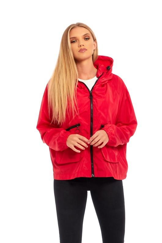 Red Crop Cagoule Jacket