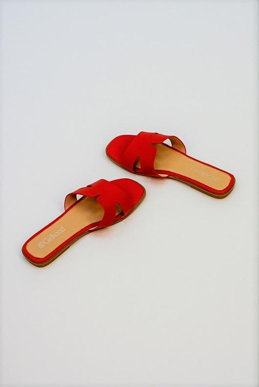 Red Cut Work Detail Faux Sliders