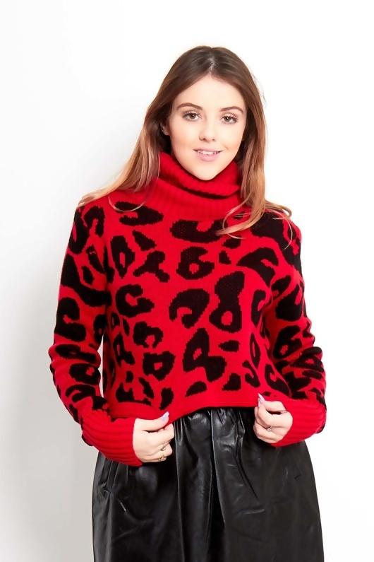 Red High Neck Crop Leopard Knit Jumper