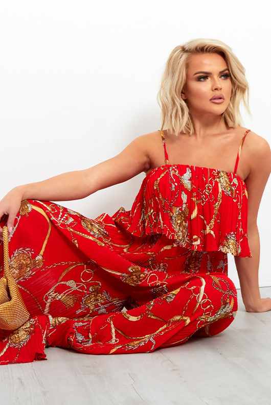 Red Chain Print Ruffle Trim Pleated Jumpsuit