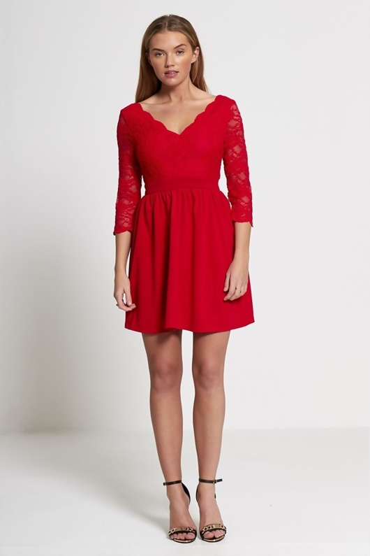 Red Plunge Neck Floral Lace Mini Dress