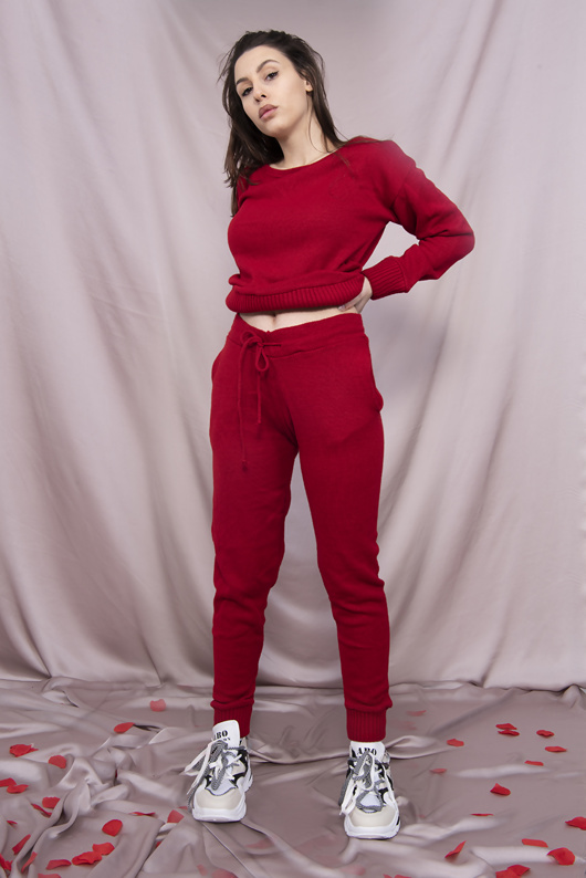 Red Loungewear Knitted Joggers and Jumper Set