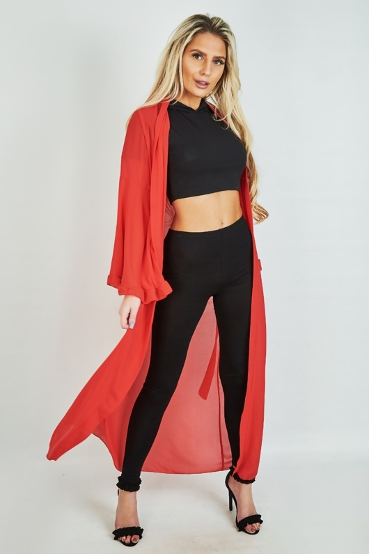 Red Sheer Flare Sleeve Longline Cardigan