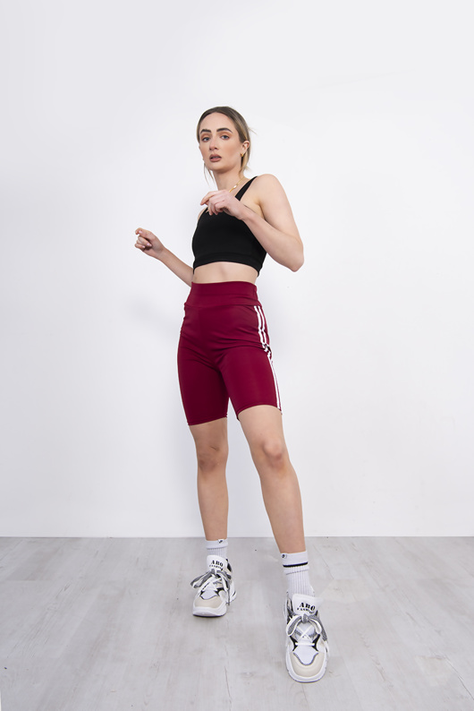 Maroon Double Stripe Cycling Shorts