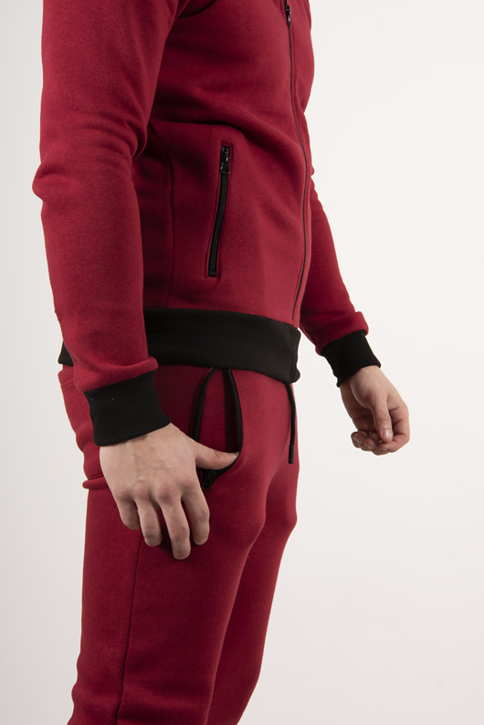 Red And Black Contrast Zip Up Tracksuit