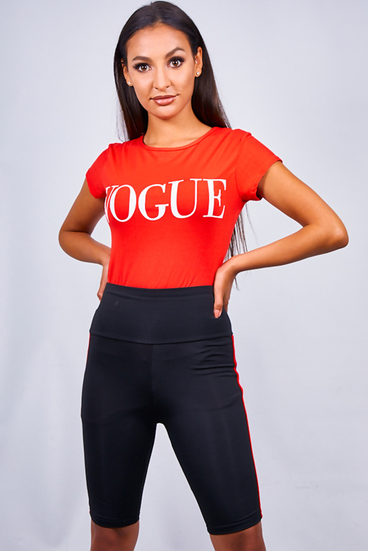 Red Vogue Slogan T-shirt