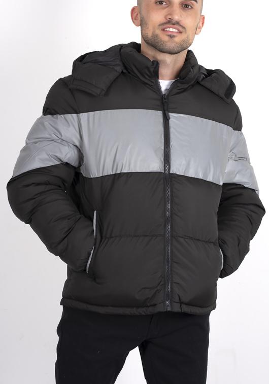 Mens Black Reflective strip puffer coat
