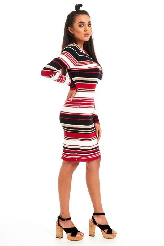 Multicoloured Crew Neck Ribbed Mini Dress