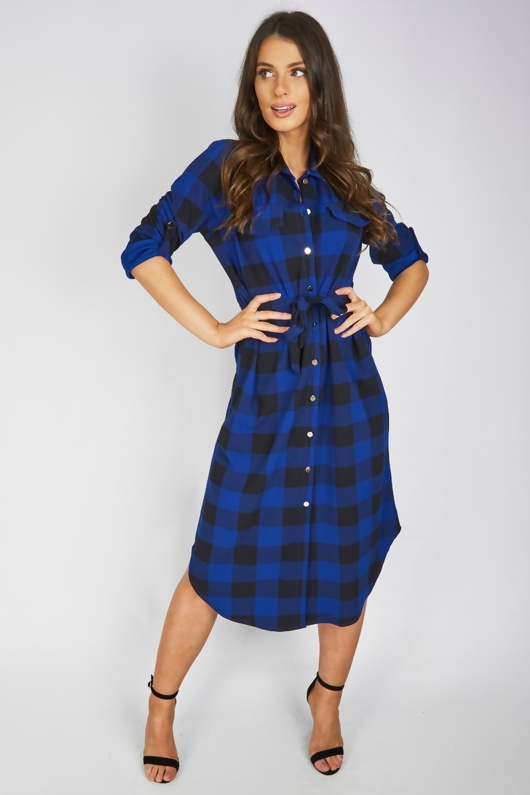 Royal Check Tie Waist Midi Shirt Dress