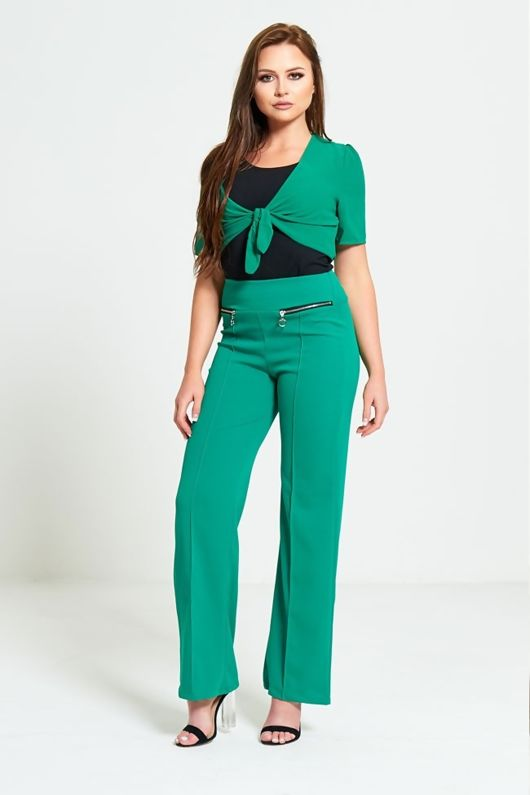 Green Zip Detail Wide Leg Trousers