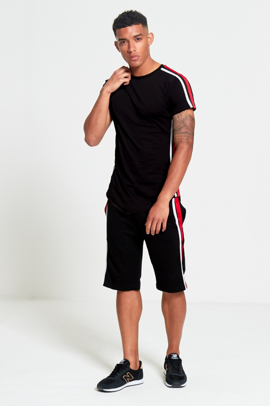 Mens Black Contrast Side Stripe Shorts Set