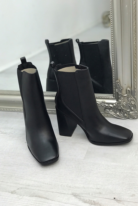 Black PU Square Toe Block Heel Ankle Boots
