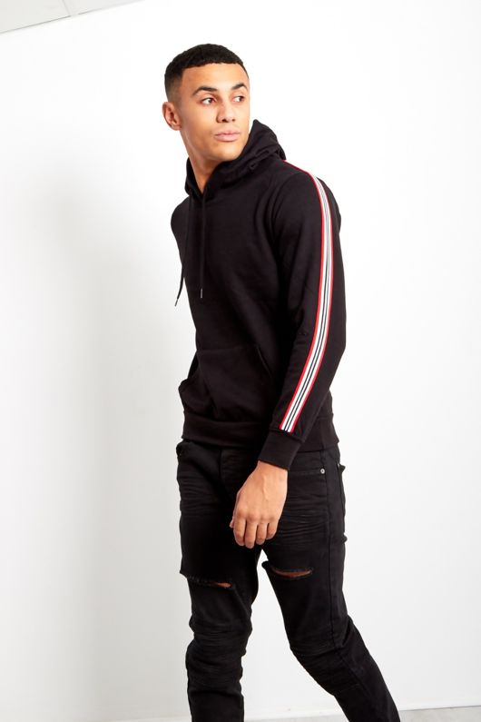 Black Mens Sleeve Striped Hooded Top