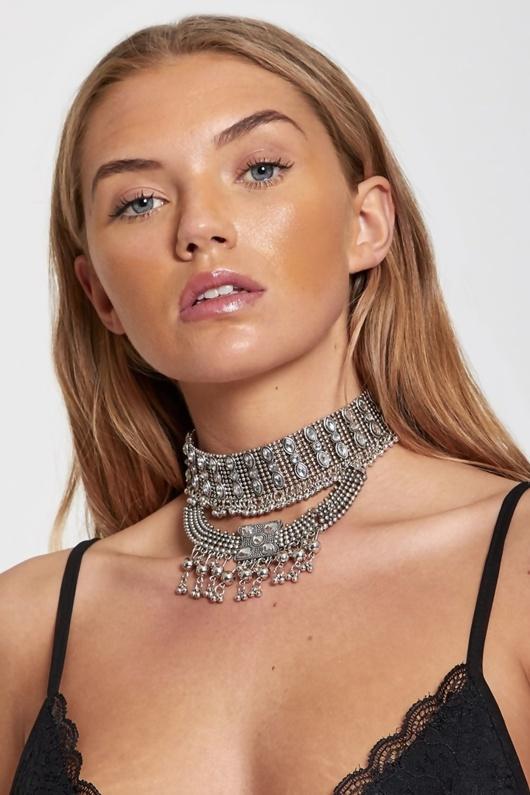 Silver Diamante Choker Necklace