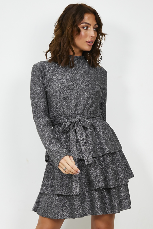 Silver Sparkly Tie Waist Ruffle Dress