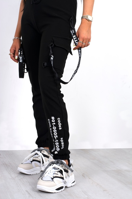 Black Slogan Print Utility Joggers