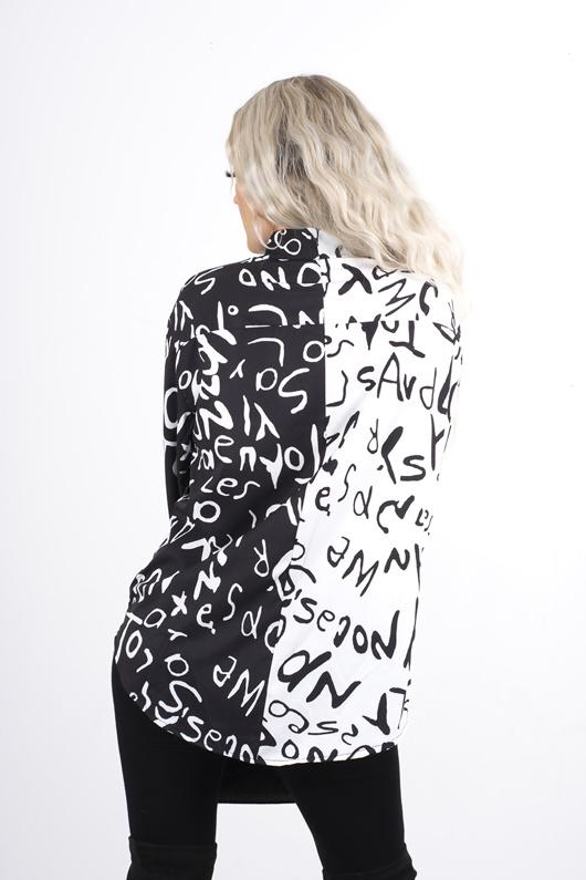 black and white split graffiti shirt