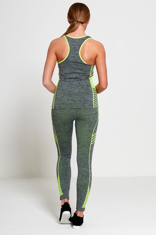 Lime Sports Stripe Activewear Top