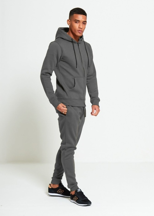 Mens Charcoal Block Hooded Tracksuit