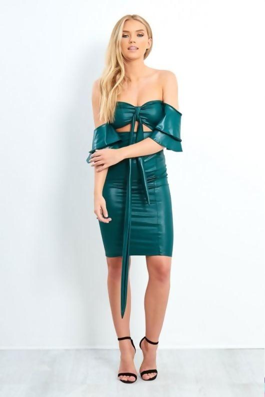 Teal Pu Leather Off The Shoulder Mini Dress