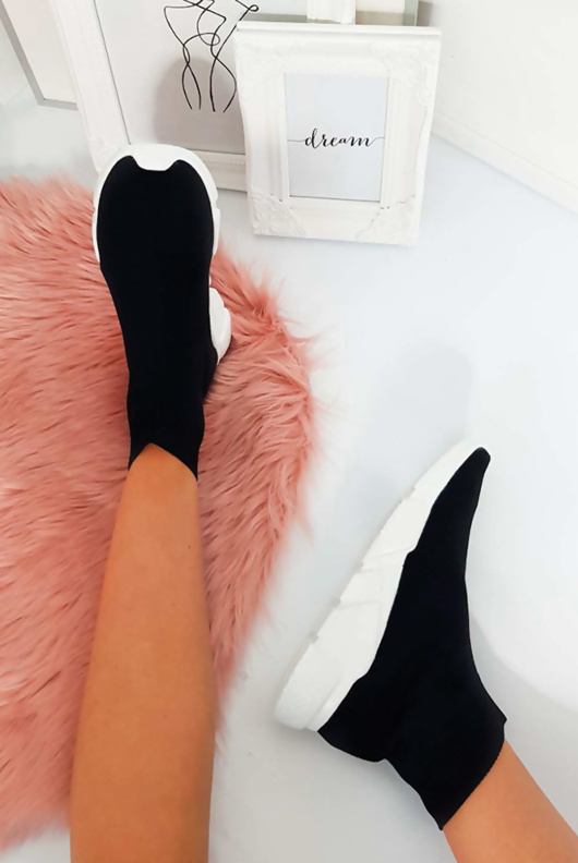 Black With White Sole Sock Sneakers