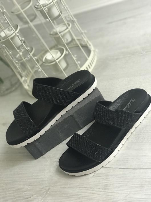 Black Glitter Sparkly Sandals
