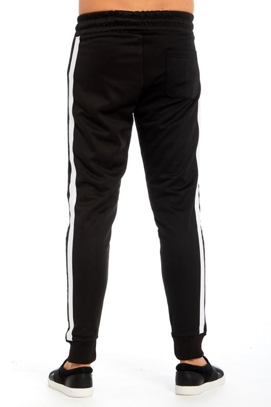Mens Black Double Stripe Jogging Bottom