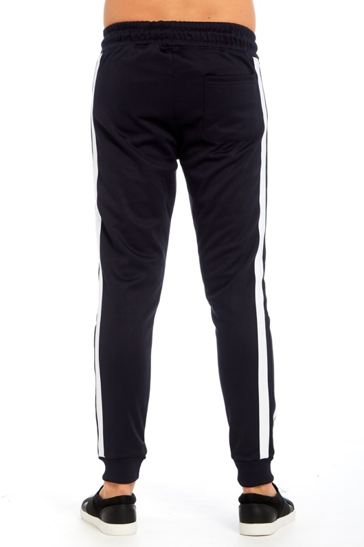 Mens Navy Double Stripe Jogging Bottom