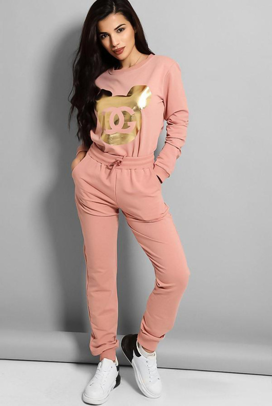 Pink Gold Foil Mickey Print Tracksuit