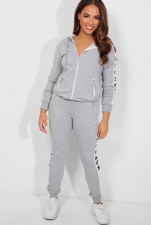 Grey Slogan Print Tracksuit With Contrast Panel
