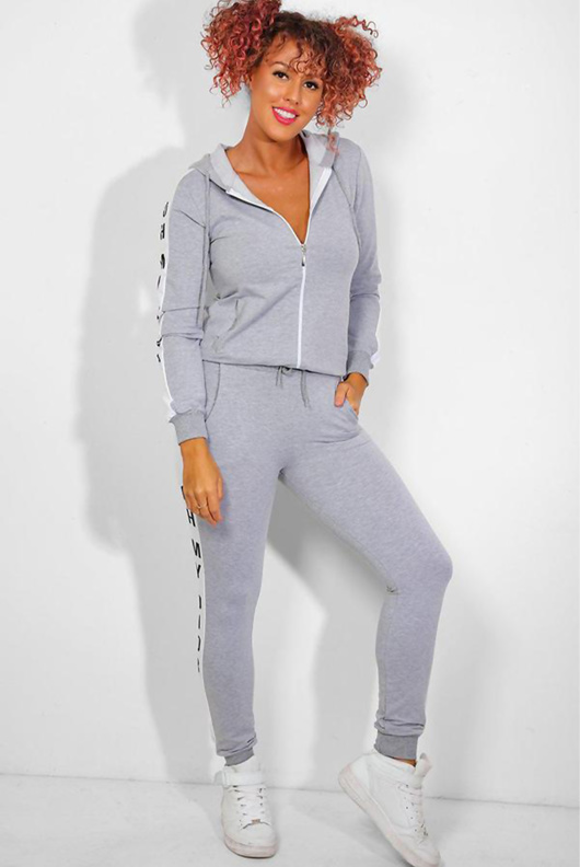 Grey Slogan Print Tracksuit With Contrast Side Stripe