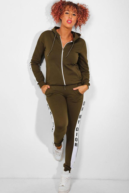 Khaki Slogan Print Tracksuit With Contrast Side Stripe