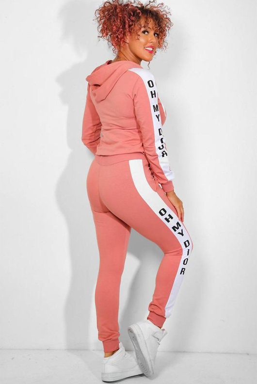 Pink Slogan Print Tracksuit With Contrast Side Stripe