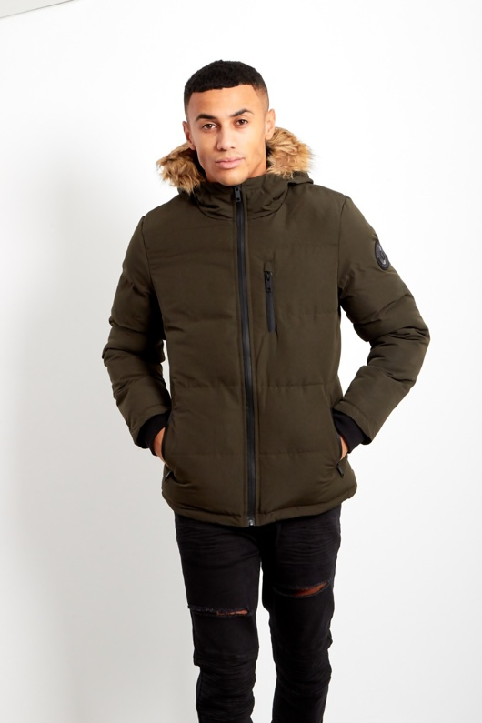 Mens Khaki WindBreaker Polar Parka