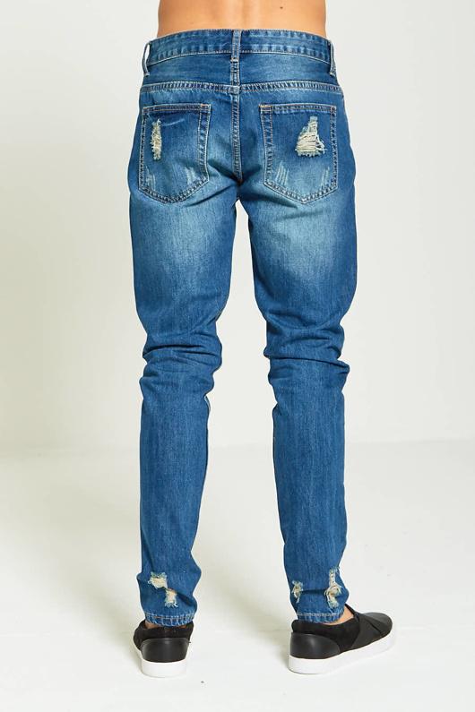 bb490df1533 Mens Blue Faded Distressed Denim Jeans