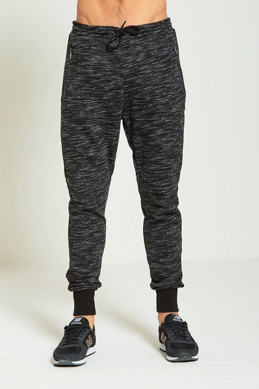 Black Mens Marl Jogging Bottoms