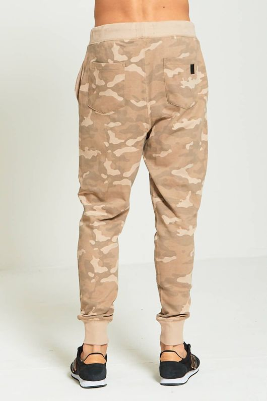 Beige Mens Camouflage Print Jogging Bottoms