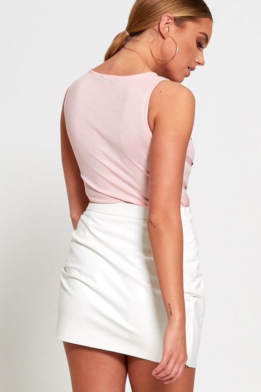 faux leather white mini skirt