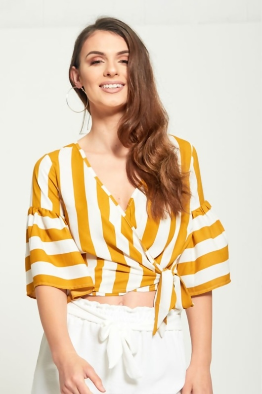 White And Mustard Striped Blouse