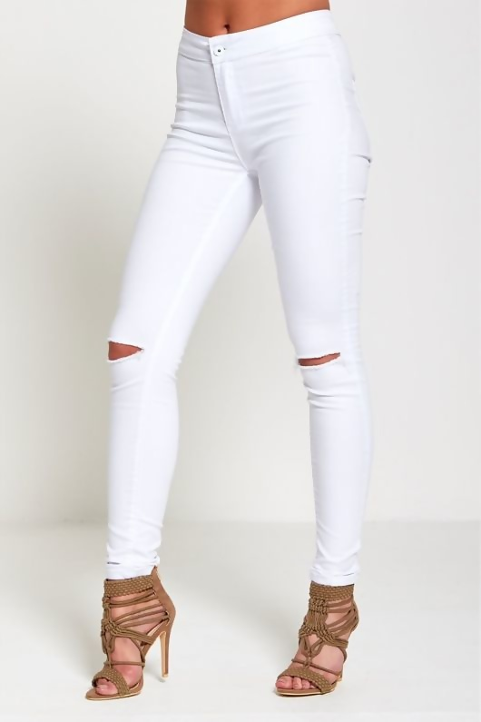 White High Waisted Super Stretch Skinny Jeans